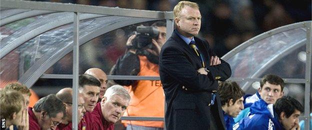 Alex McLeish looks glum in the Scotland dugout in Tbilisi in 2007