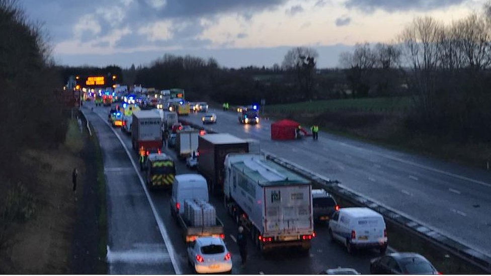 M5 crash: One dead in three-car crash