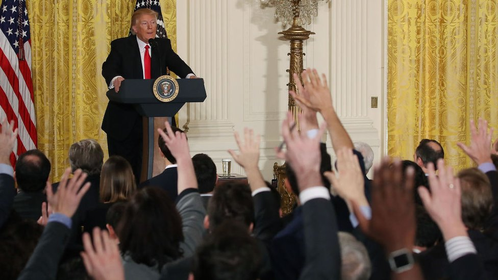 Donald Trump en una rueda de prensa.