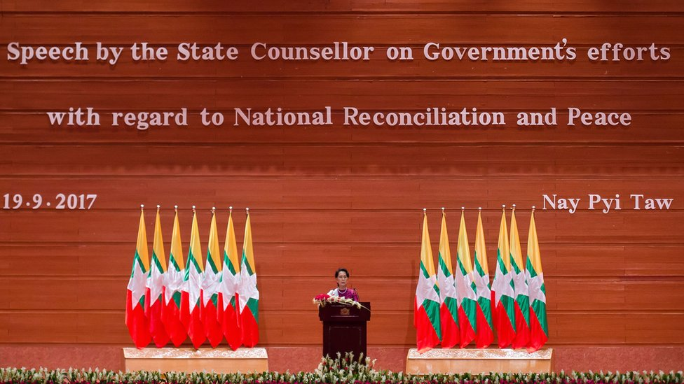 Myanmar's State Counsellor Aung San Suu Kyi delivers a national address in Naypyidaw on September 19, 2017