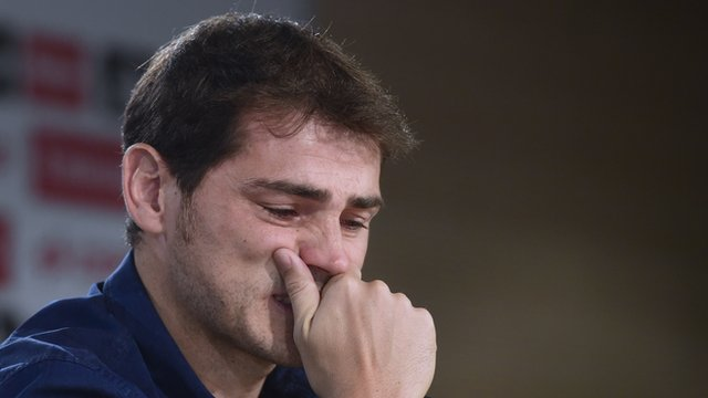 Iker Casillas in tears at Real Madrid departure