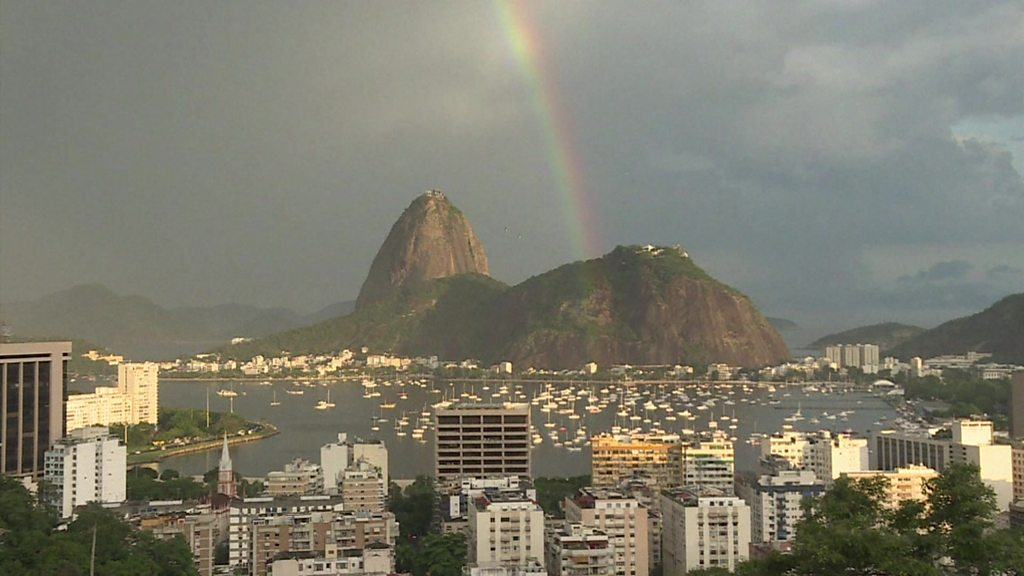 New Year rainbow graces Rio's Sugarloaf Mountain