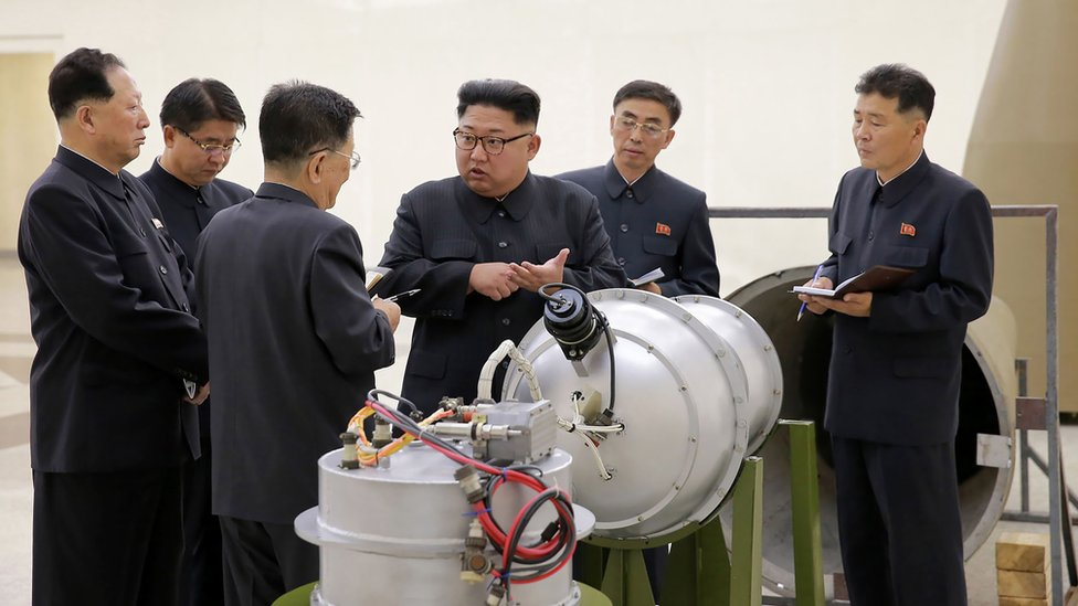 Image shows North Korean leader Kim Jong-un inspecting a supposed hydrogen bomb