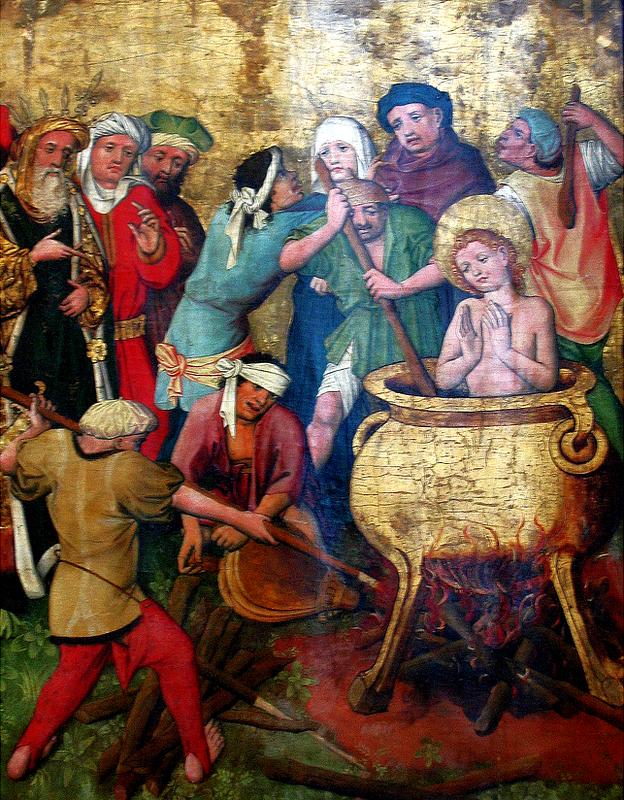 """La aflicción, en ese entonces, tenía el nombre de un santo en particular: San Vito. (""""El martirio de San Vito"""", obra anónima colgada en el Museo Nacional de Varsovia, fotografiada por Maciej Szczepa?czyk)."""