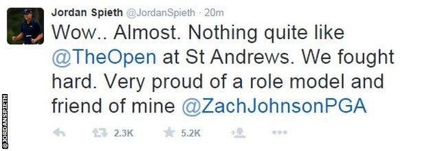 Jordan Spieth tweet