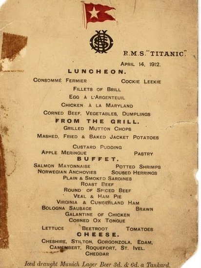 Bbc News Last Titanic Lunch Menu Sells For 58k At Auction