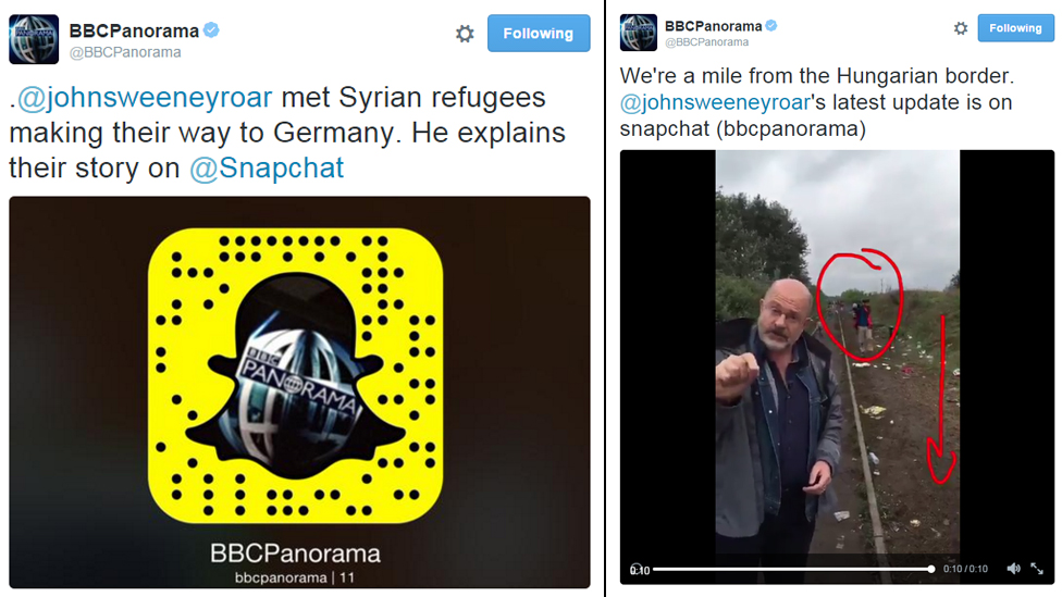 Twitter links to John Sweeney's Snapchat reports for Panorama