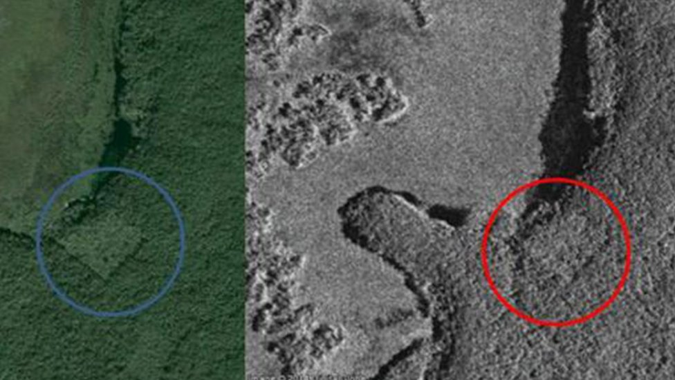 Canadian Space Agency satellite images showing the lost Mayan city