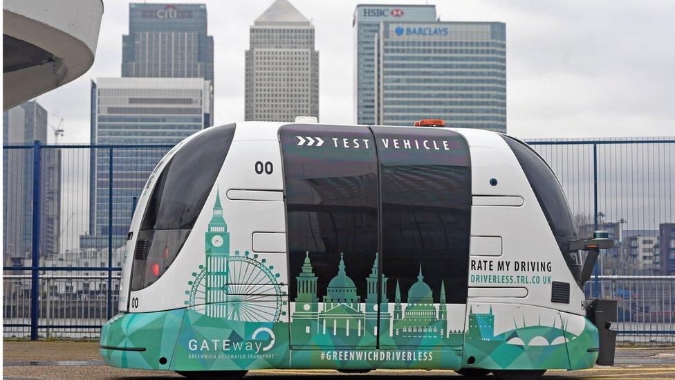 在東倫敦測試的無人自動駕駛車