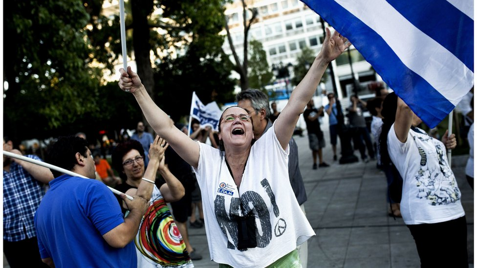 With almost all the votes from a crucial referendum counted, Greeks overwhelmingly reject bailout terms offered by international creditors.