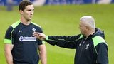 George North receives instructions from Wales coach Warren Gatland