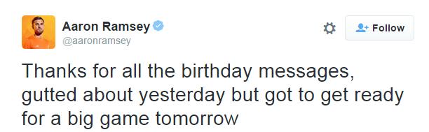 Aaron Ramsey tweet, reading: