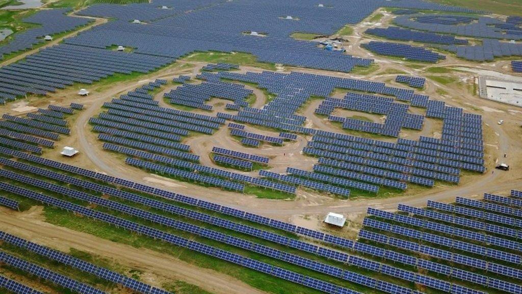 China opens panda-shaped solar power plant