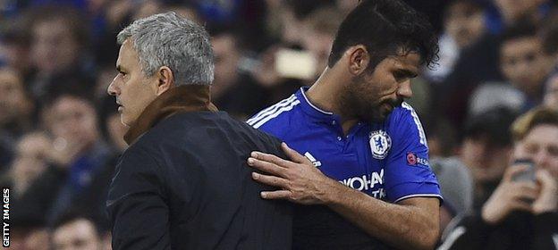 Chelsea manager Jose Mourinho embraces striker Diego Costa
