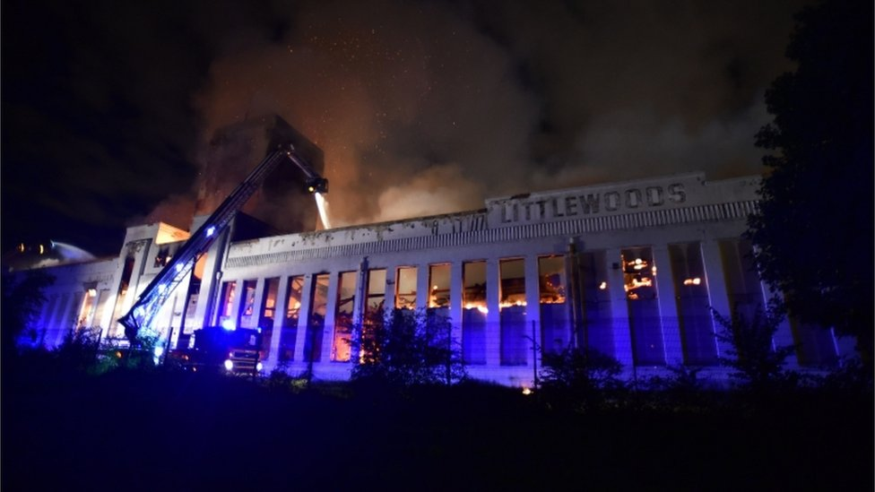 Liverpool's Littlewoods Pools building engulfed by fire