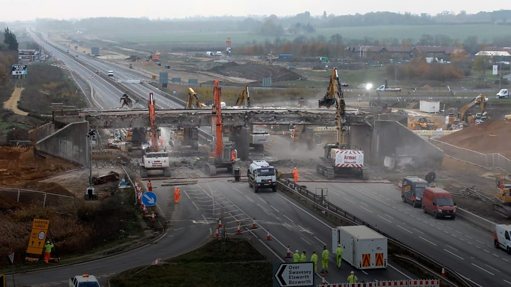 A14 bridge demolition at Swavesey captured through timelapse video