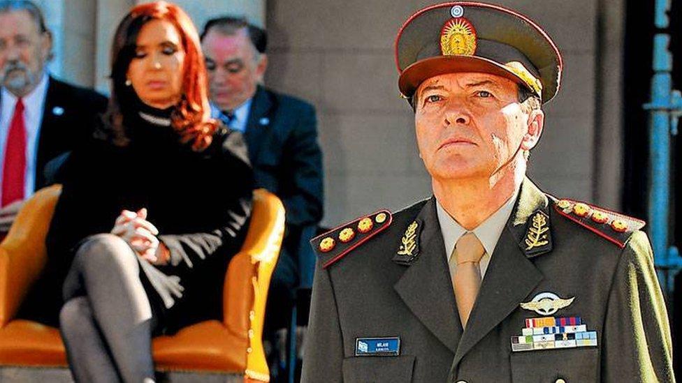 César Milani con Cristina Fernández de Kirchner.