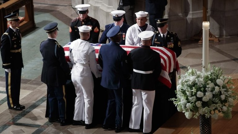 John McCain: Obama and Bush pay tribute at Washington service