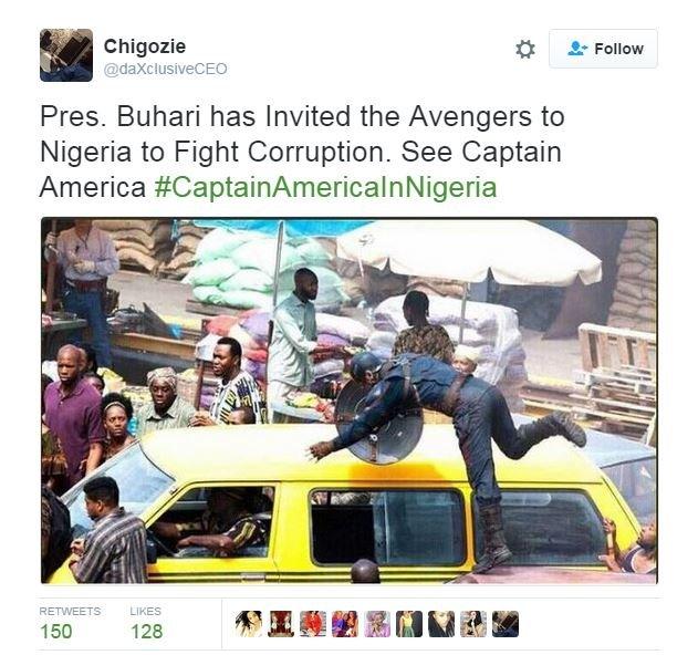 Captain America on a scene in Lagos, Nigeria