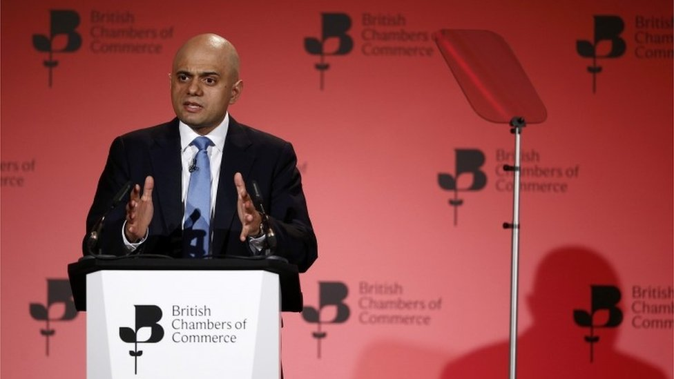 Business secretary Sajid Javid speaking at British Chambers of Commerce annual conference