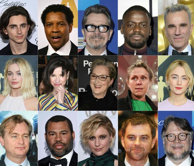 Combinación de los nominados a mejor actor, mejor actriz y mejor director en los Oscar 2018