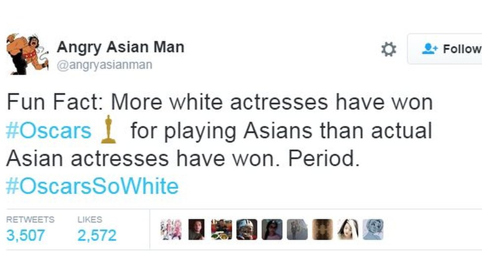 Fun Fact: More white actresses have won #Oscars for playing Asians than actual Asian actresses have won. Period