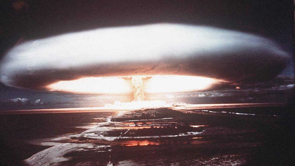 A nuclear test on Mururoa atoll in 1971