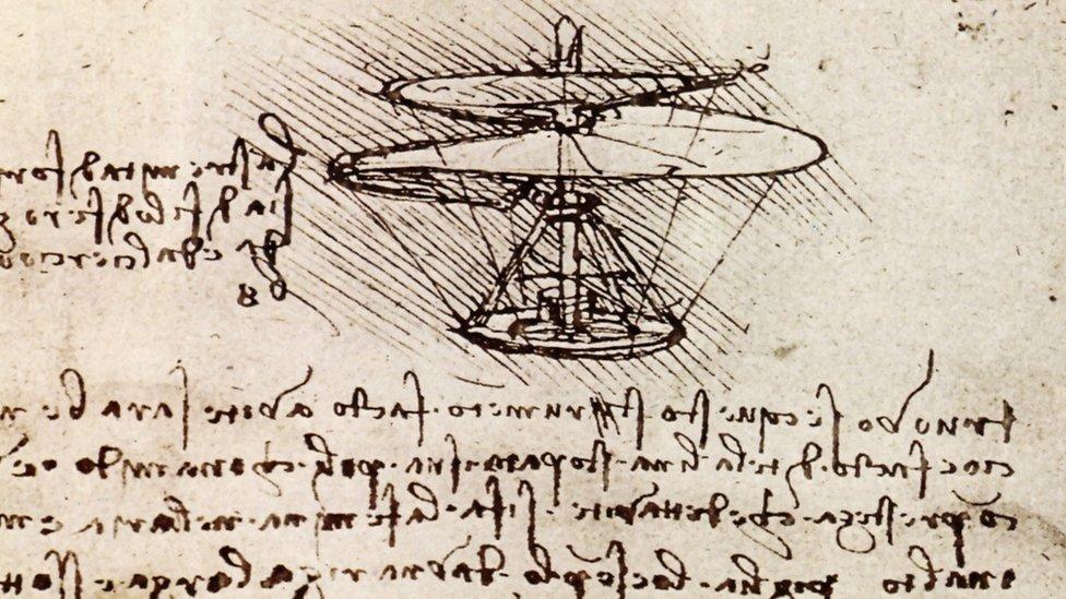 Pedazo de uno de los manuscritos de Da Vinci