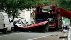 The remains of the number 30 bus in Tavistock Square