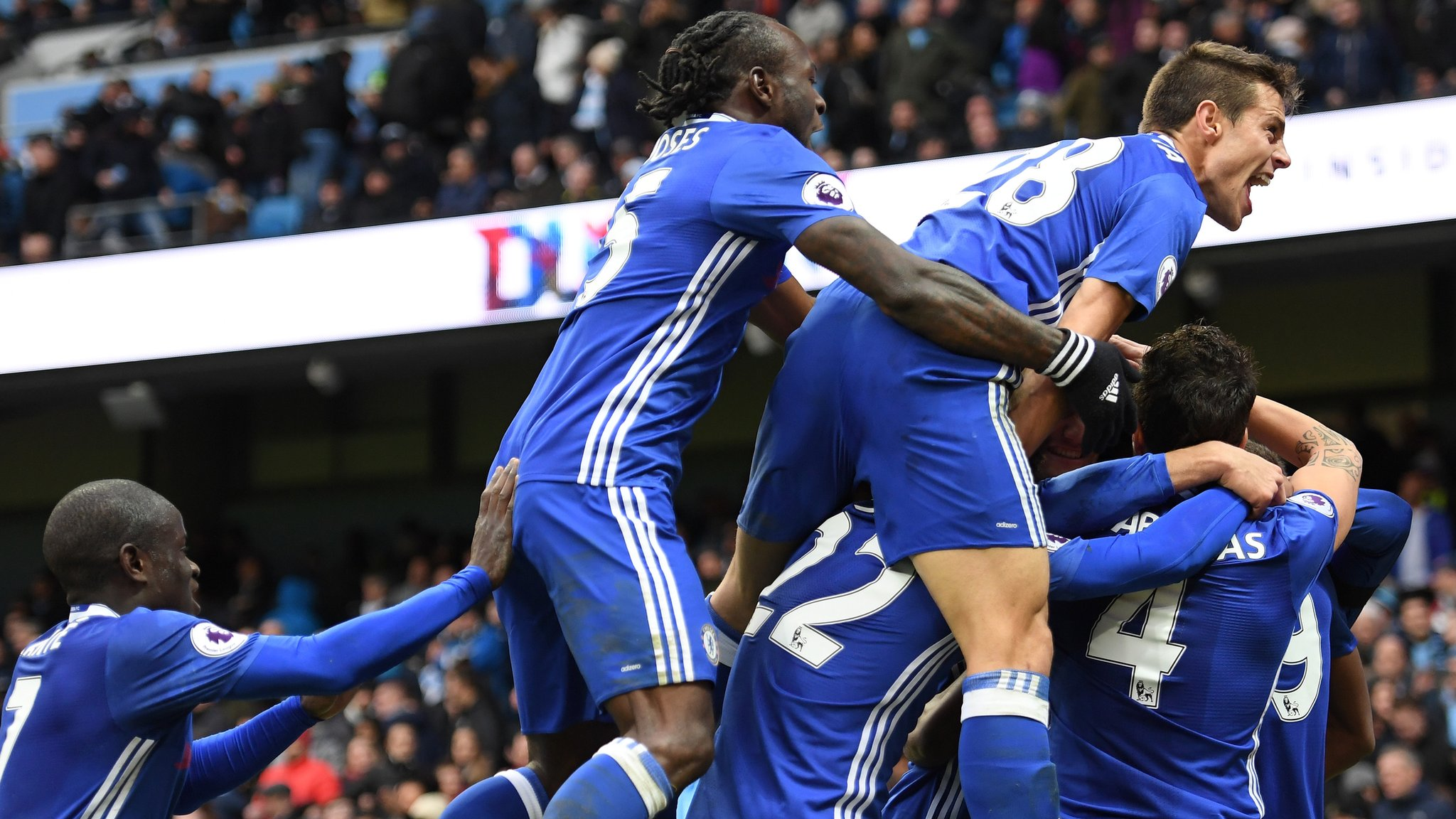 Two sent off as Chelsea win fiery clash at Man City