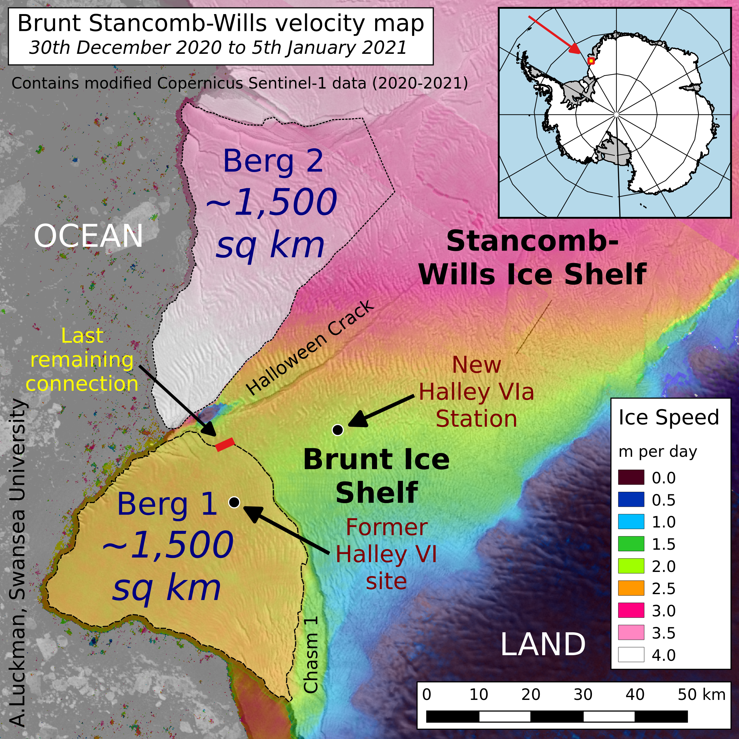 Map of ice shelf