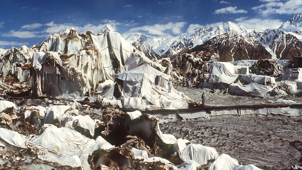 Campamento militar indio en el glaciar Siachen