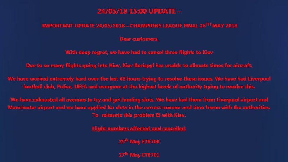 Champions League: Liverpool fans' Kiev flights cancelled