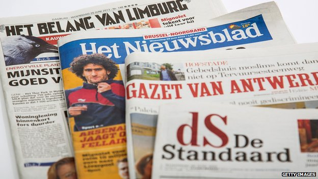 Belgian newspaper front pages