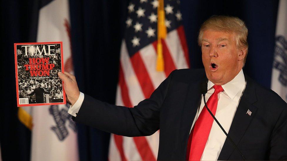El presidente estadounidense, Donald Trump, suele interesarse por las portadas de Time.