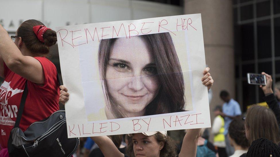 Vigils were held in honour of Heather Heyer, who was killed in Charlottesville
