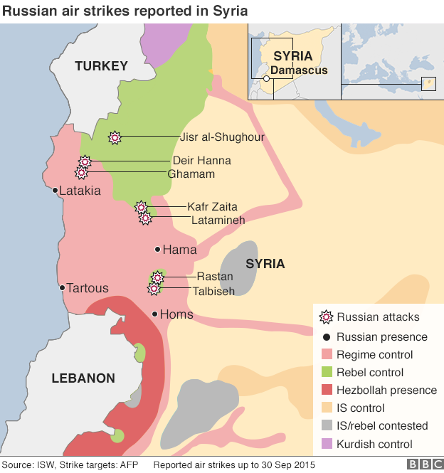 Map of Russian air strikes on Syria