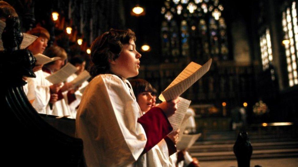 Boy choristers singing at a BBC Radio 3 Choral Evensong