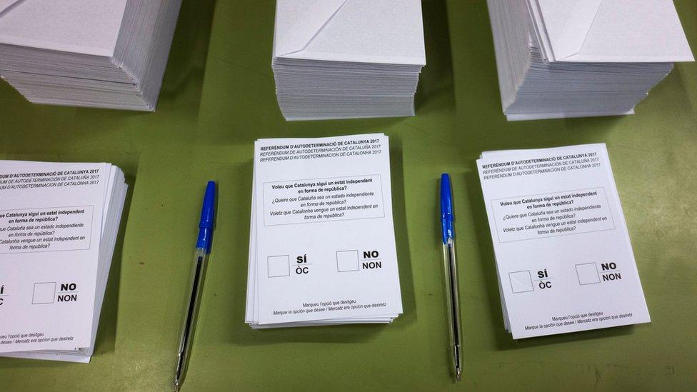 加泰隆尼亞公投的表決票