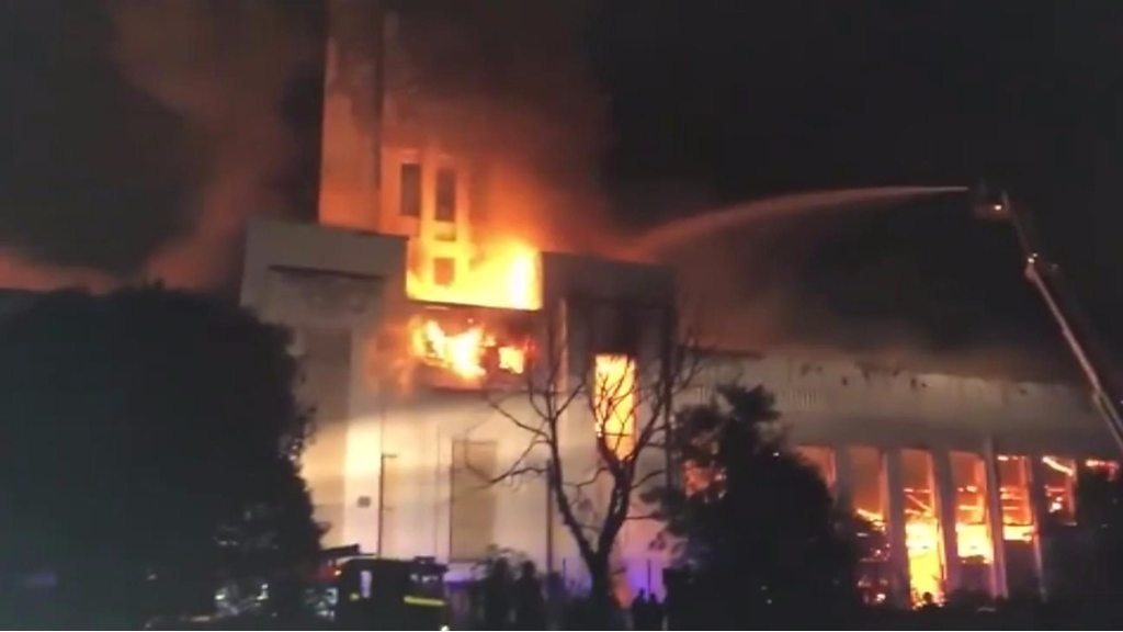 Flames seen throughout sprawling building
