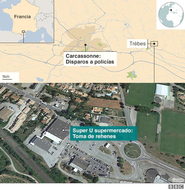 Mapa de los sucesos en el sur de Francia.