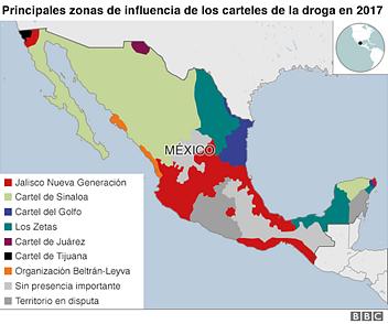 Mapa de la influencia de los carteles en 2017