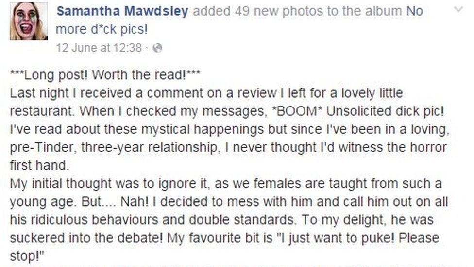 Samantha's Facebook post
