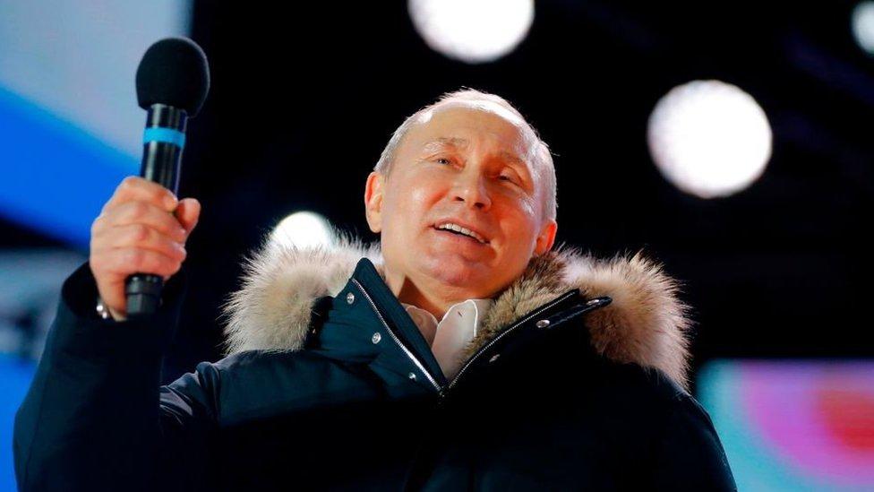 Vladimir Putin, durante el discurso tras su victoria electoral.
