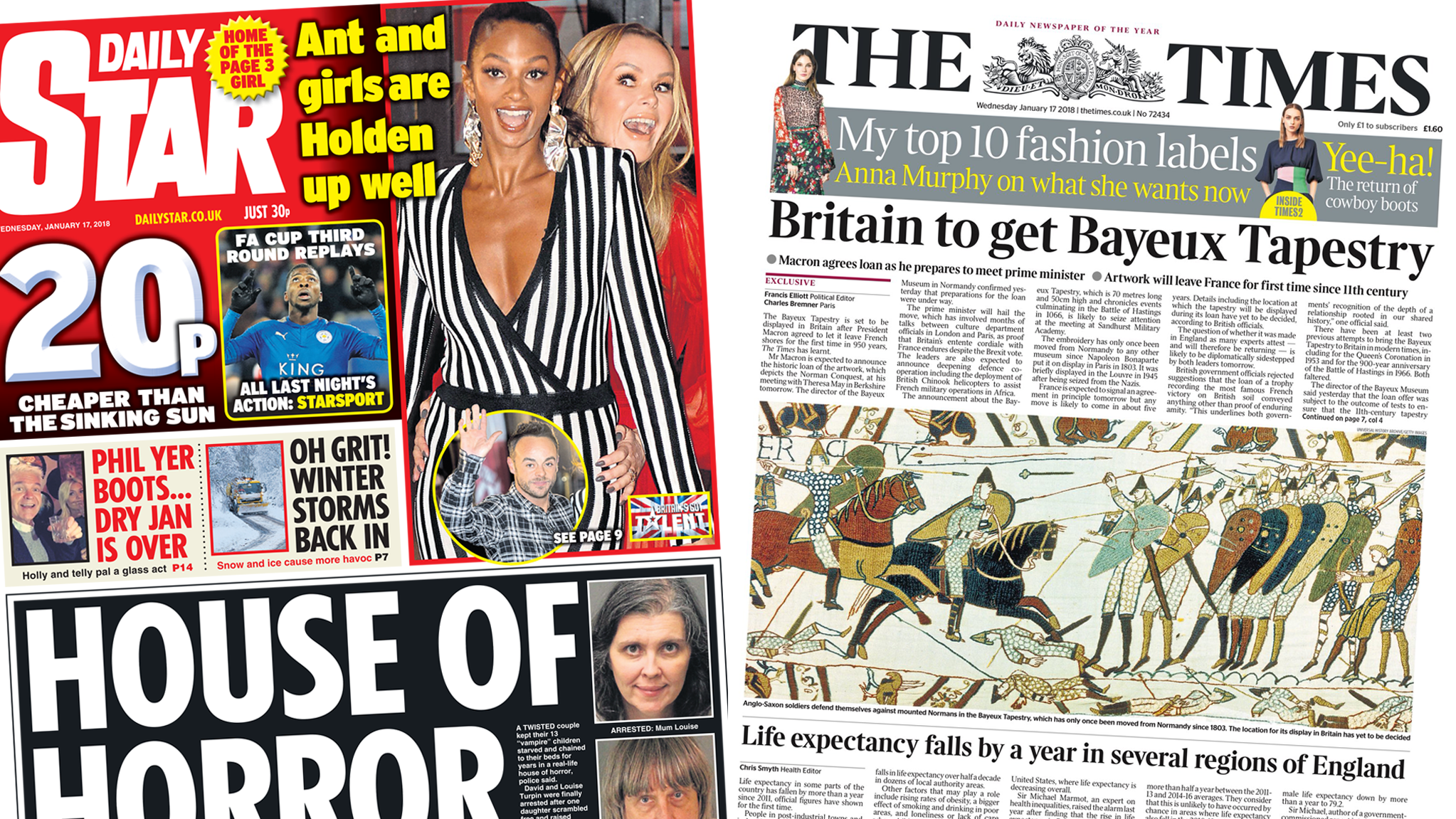 Newspaper headlines: 'House of Horror' and Bayeux