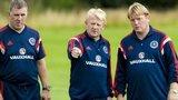 Mark McGhee, Gordon Strachan and Stuart McCall at Scotland training