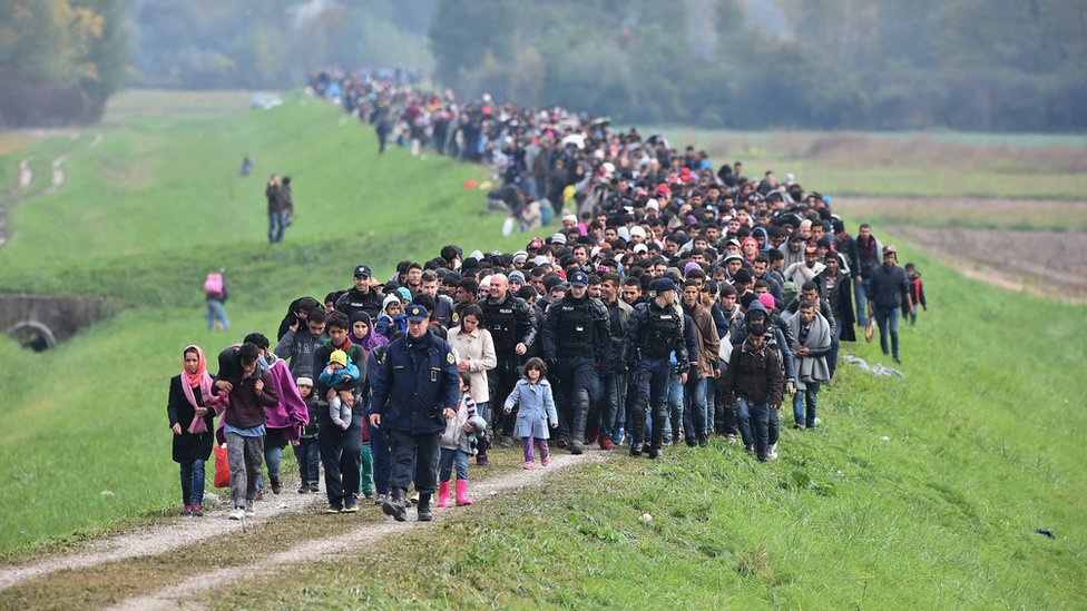 Migrants passing through Slovenia