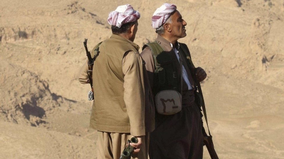 Members of the Kurdish Peshmerga forces stand with their weapons in the town of Sinjar, Iraq