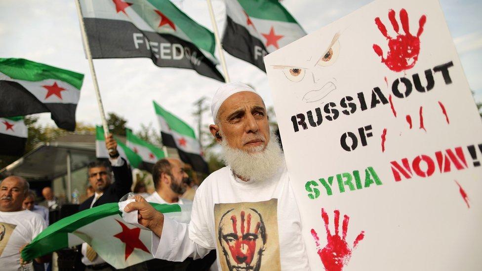 مظاهرة في العاصمة الأمريكية واشنطن، احتجاجا على التدخل العسكري الروسي فو سوريا