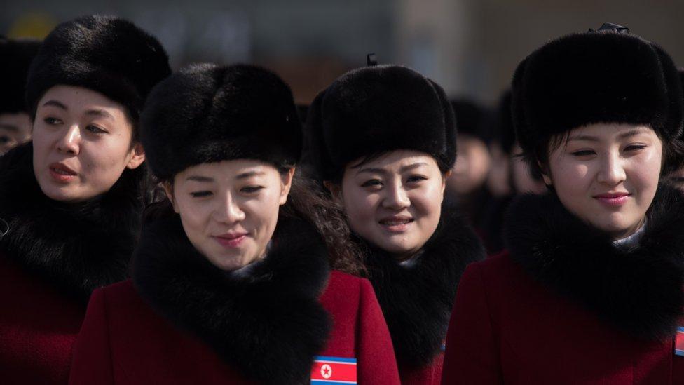 Animadoras norcoreanas en Pyeongchang.